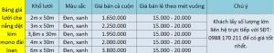 Báo giá Lưới che nắng dệt kim mono đài loan